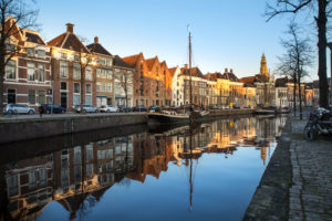 Europe, Netherlands, Groningen: downtown in the blue hour